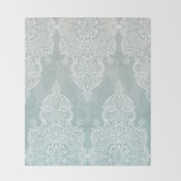 Lace & Shadows - soft sage grey & white Moroccan doodle Throw Blanket
