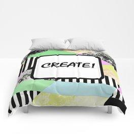 CREATE! Pop art style, geometric, abstract, block colour print Comforters