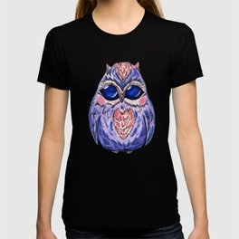 Watercolor hand drawn owl in purple T-shirt