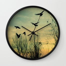 Crows Fly Through The Colors Of Dusk Wall Clock
