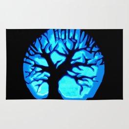 Happy HaLLoWeen Brain Tree Blue Rug