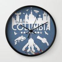 bioshock infinite Wall Clocks featuring Welcome To Columbia - Bioshock Infinite (Variant) by s2lart