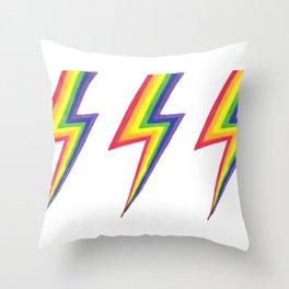 Rainbow Bolts Throw Pillow