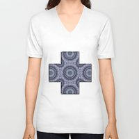 china V-neck T-shirts featuring China Blue by Peter Gross