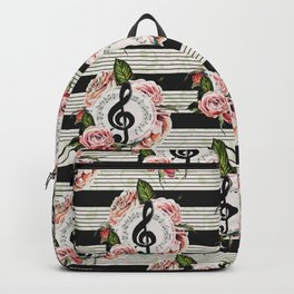 Musical Treble Clef with Watercolor Roses Pattern Backpack