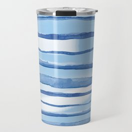 Indigo Watercolour Line Travel Mug