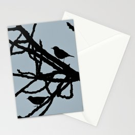 Sparrows Birds Tree Bare Branches Silhouette Stationery Cards