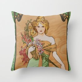 "Alphonse Mucha ""The Seasons (series): Spring"" (1900) Throw Pillow"