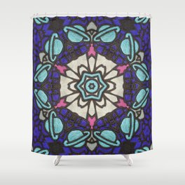 Saturn in Teal Leather - Photo of Leather, Suede and Krafttech Art Shower Curtain
