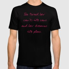She turned her can'ts into cans, message to strong women. Inspiration typography, motivate, woman, MEDIUM Black Mens Fitted Tee