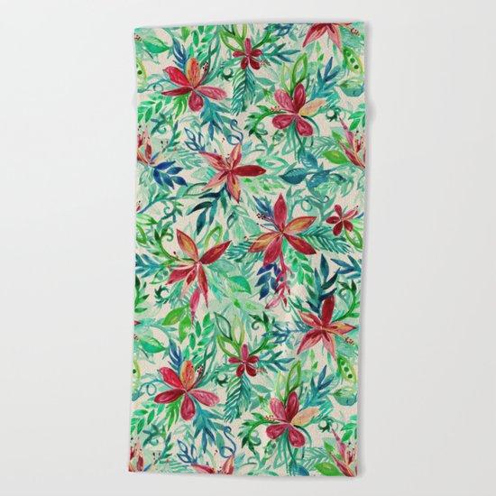 Vintage Tropical Floral - a watercolor pattern Beach Towel
