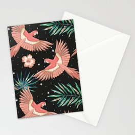 Pink macaw parrots on the starry night sky Stationery Cards