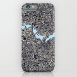 London color map city drawing illustration Thames iPhone Case