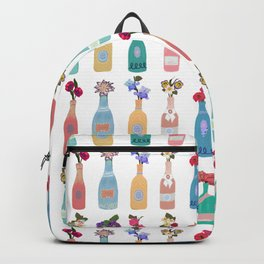 Champagne, wine bottle with hand drawn bouquet flowers  Backpack