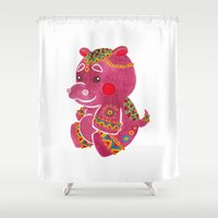 hippo Shower Curtains featuring Baby Hippo by haidishabrina