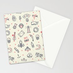 GUITAR AND BOAT PATTERN Stationery Cards