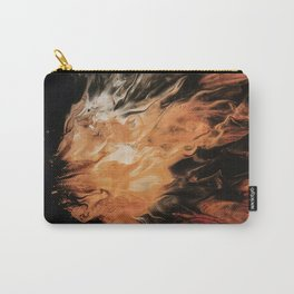 gold brown white and black psychedelic abstract paint pour Carry-All Pouch