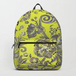 Painted Tibetan Brocade yellow Backpack