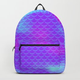 Violet and Blue Mermaid Tail Abstraction. Magic Fish Scale Pattern Backpack