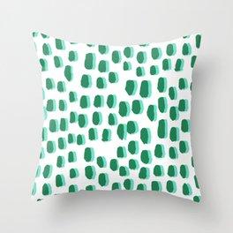 Minimal white and green dots pattern polka dot print basic decor Throw Pillow