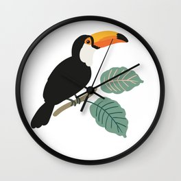Toucan birds and palm leaves in the jungle Wall Clock