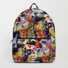 Contemporary Abstract in Modern Geometric Cubism Style Backpack