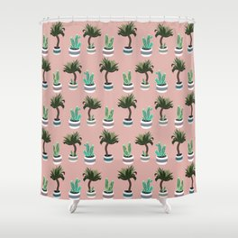 Yucca and cacti in planters pattern Shower Curtain