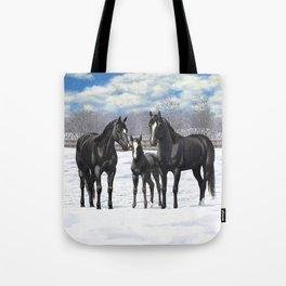 Beautiful Black Quarter Horses In Snow Tote Bag