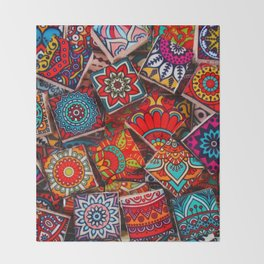 V1 Traditional Moroccan Colored Stones. Throw Blanket