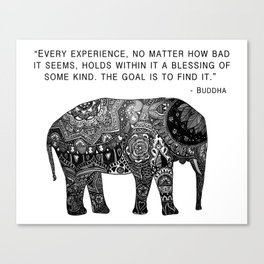 Buddha Quote with Henna Elephant Canvas Print