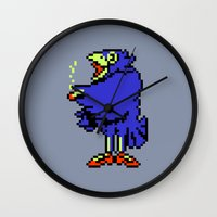 earthbound Wall Clocks featuring Crow - Mother / Earthbound Zero by Studio Momo╰༼ ಠ益ಠ ༽