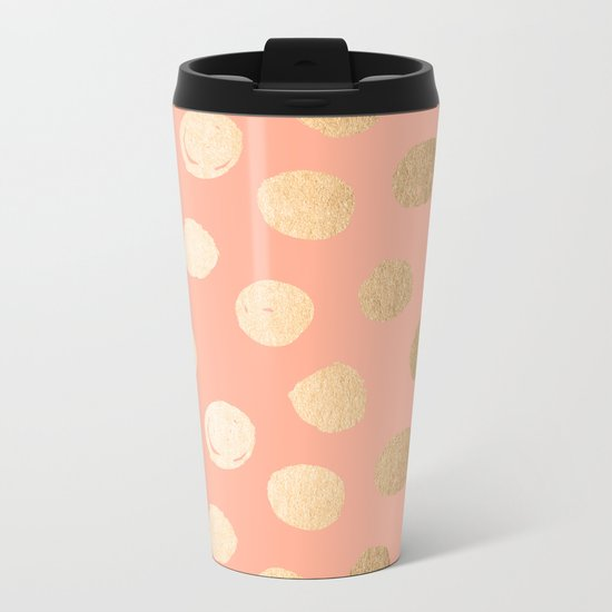 Sweet Life Polka Dots Peach Coral + Orange Sherbet Shimmer Metal Travel Mug