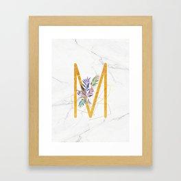 Modern glamorous personalized gold initial letter M, Custom initial name monogram gold alphabet prin Framed Art Print