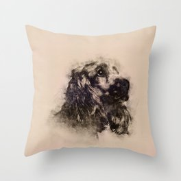 English Cocker Spaniel Sketch Throw Pillow