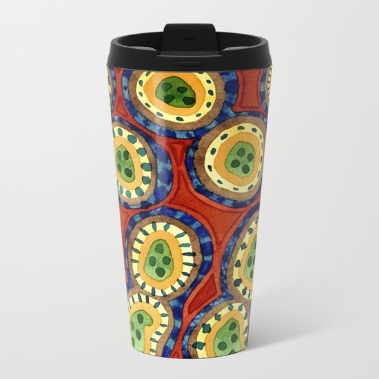 Folcloristic Ringed Circles Pattern Metal Travel Mug