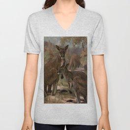 Vintage Kangaroo Painting (1909) Unisex V-Neck