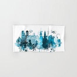 Munich Monochrome Blue Skyline Hand & Bath Towel