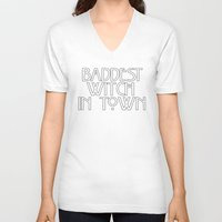 ahs V-neck T-shirts featuring Baddest Witch In Town AHS by Zharaoh