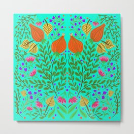 Tulip floral turquoise  Metal Print