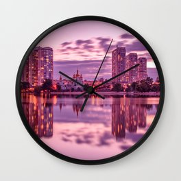 The lights of the evening lake Wall Clock