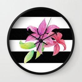 Stripes & Flowers Wall Clock