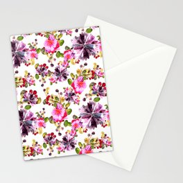 Watercolor flora pink bouquet Stationery Cards