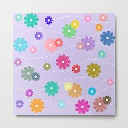 Floral Wave/Retro Metal Print