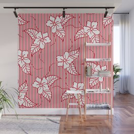 Fashion red flame scarlet white floral hand drawn geometric stripes pattern Wall Mural