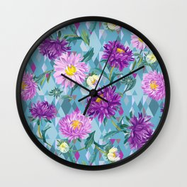 Violet Asters on green-blue Argyle background Wall Clock