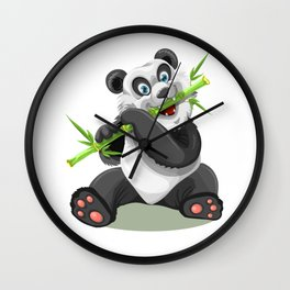 Baby Panda and His Bamboo Wall Clock