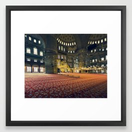 inside the Blue Mosque in istanbul Framed Art Print