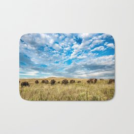 Grazing - Bison Graze Under Big Sky on Oklahoma Prairie Bath Mat