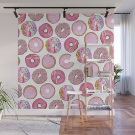 Cute Pink Sprinkle Confetti Watercolor Donuts Wall Mural