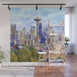 Seattle View in watercolor Wall Mural